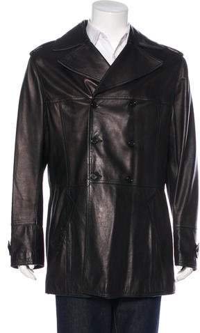 Dolce & Gabbana Double-Breasted Leather Coat