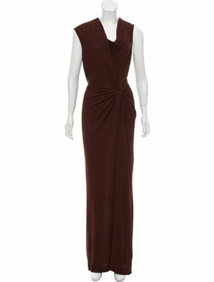 Narciso Rodriguez Cowl Neck Long Dress w/ Tags Brown