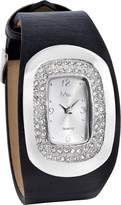 MC M&c Women's Stylish Black PU Leather with CZ Watch