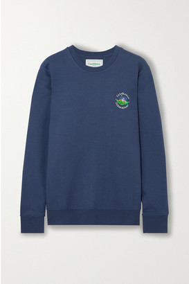 Casablanca Embroidered Cotton-jersey Sweatshirt - Navy