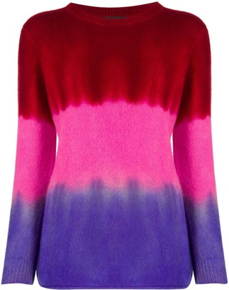 The Elder Statesman Cashmere Tie-Dye Colour Block Jumper