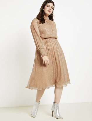 ELOQUII Puff Sleeve Gathered Waist Dress