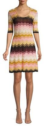 M Missoni Lurex-Knit Cheveon Flare Dress