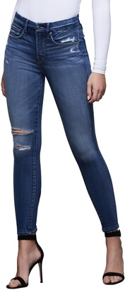 Good American Good Legs Ripped High Waist Ankle Skinny Jeans