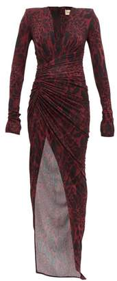Alexandre Vauthier Ruched Lynx-print Stretch-jersey Dress - Womens - Burgundy Print