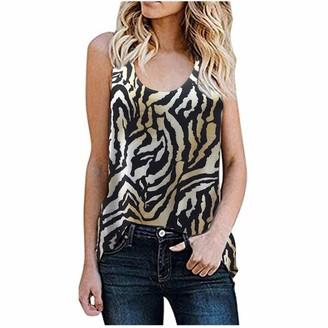 HEREEQ Women's Leopard Tank Tops Sleeveless Henley Shirt Summer Casual Workout Tees Black 3XL