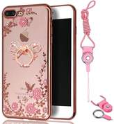 Iphone 7 plus (5.5 inch) Case,Spritech Slim Soft Gel Clear Bling Case Rose Gold Metal Plating Bumper Cover & Lanyard Neck Strap,Metal Ring Stand
