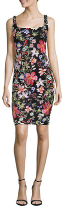 Nicole Miller Embroidered Floral Sheath Dress
