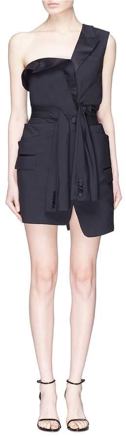 Alexander Wang Deconstructed one-shoulder wool-mohair tuxedo dress