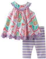 Rare Editions Baby Girl Paisley Swing Top & Striped Leggings Set
