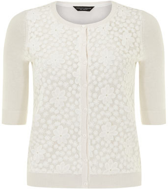 Dorothy Perkins Ivory lace front cardigan