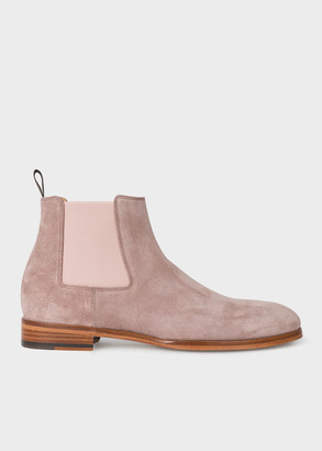 Paul Smith Men's Dusky Pink Suede 'Crown' Chelsea Boots