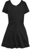 Aqua Girls' Diamond Print Flared Dress - Sizes S-XL