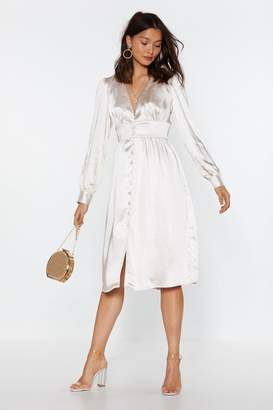 Nasty Gal Womens Just A Touch Of Your Love Satin Midi Dress - Grey - 6