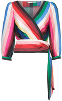 Alice + Olivia Alice+Olivia striped wrap blouse