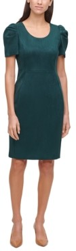 Calvin Klein Puff-Sleeve Faux-Suede Sheath Dress