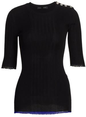 Proenza Schouler Silk & Cashmere-Blend Ribbed Top