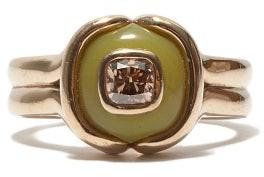 Fernando Jorge Cushion Diamond, Serpentine & 18kt Beige-gold Ring - Beige Gold