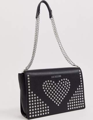 Love Moschino stud faux leather chain strap shoulder bag-Black