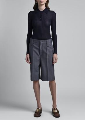 Prada Cashmere-Silk Polo Sweater