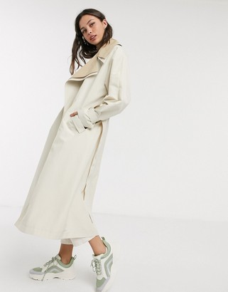 Asos DESIGN double layer oversized trench coat in stone