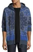 Etro Bandana-Print Zip-Up Hooded Sweatshirt
