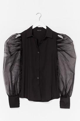 Nasty Gal Womens Strut Your Puff Sleeve Organza Shirt - Black - S