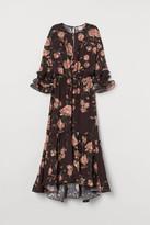 H&M Creped Ruffled Dress - Brown