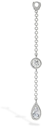 Maria Tash Medium Pendulum Charm Scalloped Set Pear and Round Diamond