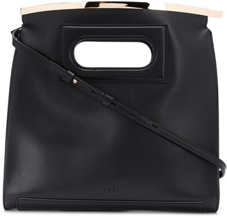 Curved Leather Tote Bag With Hardware Detail