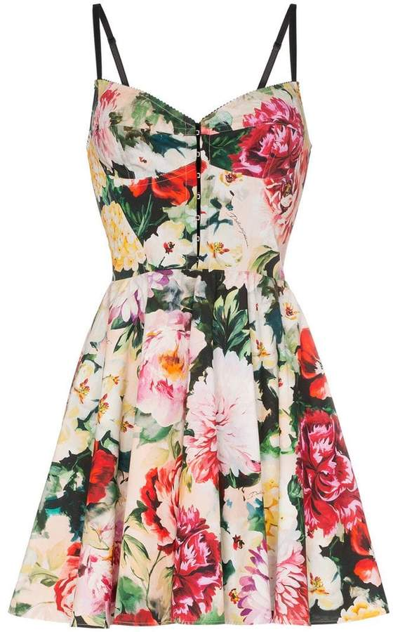 Dolce & Gabbana sweetheart neck floral print cotton blend mini dress