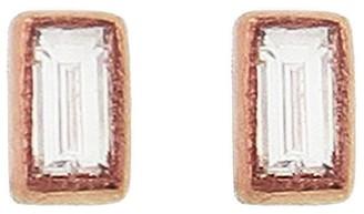 Sethi Couture Baguette Diamond Rose Gold Stud Earrings