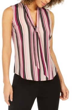 Nine West Striped Tie-Trim V-Neck Blouse