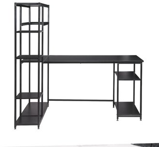 Inbox Zero Office Computer Desk With Multiple Storage Shelves, Modern Large Office Desk With Bookshelf And Storage Space Color: Black
