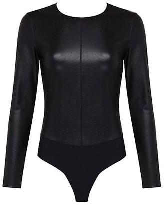 Commando Faux Leather Long-Sleeve Crew Bodysuit