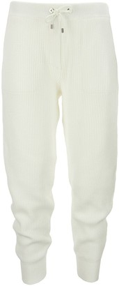 Brunello Cucinelli English Rib Cotton Knit Trousers With shiny Tab Pocket