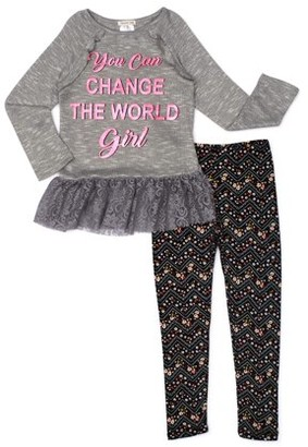 Forever Me Girls Lace Hem Ruffle Detail Tunic and Printed Leggings, 2-Piece Outfit Set, Sizes 4-6X