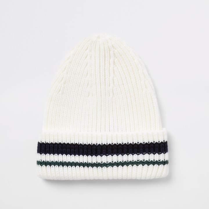 6a360ba3f Mens Cream stripe knit fisherman beanie hat