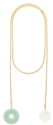 Timeless Pearly - Jade And Pearl Gold-plated Necklace - Womens - Gold Multi