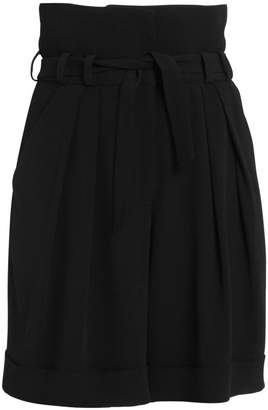 Balmain High Waist Crepe Bermuda Shorts