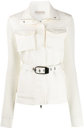 Emilio Pucci Knitted Sleeves Belt Jacket