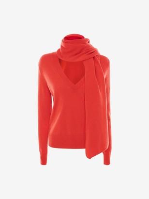 Alexander McQueen Scarf-Neck Cashmere Sweater