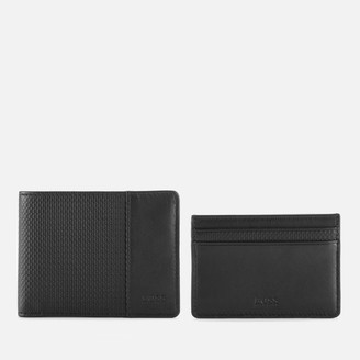 HUGO BOSS Men's Wallet and Card Holder Gift Set - Black