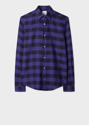 Paul Smith Men's Super Slim-Fit Purple Check Cotton Shirt