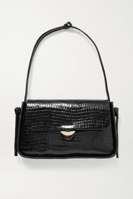 Loeffler Randall Maggie Croc-effect Patent-leather Shoulder Bag - Black