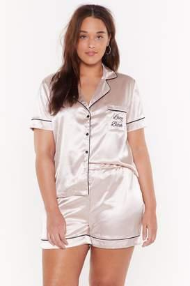Nasty Gal Womens Lazy Bitch Plus Satin Embroidered Short Pyjama Set - pink - 18