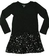 Flowers By Zoe - Kid's Black 3/4 Sleeve Sequin Dress