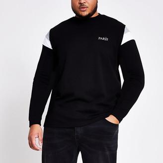 River Island Big and Tall black block sweatshirt