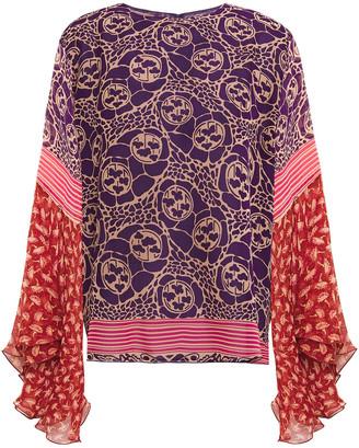 Anna Sui Crepon-paneled Printed Silk-chiffon Blouse