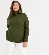 Vero Moda Curve ribbed sweater with roll neck in khaki